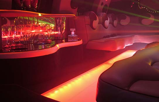Ace of Heart's Stretched Limo features an incredible sound system and laser light show